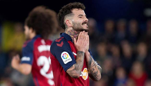 Rubén García se lamenta en el partido contra el Villarreal.