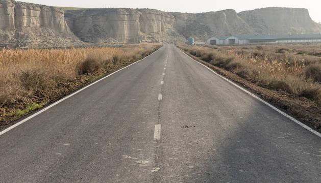 Foto del acceso a la carretera de Bardenas desde la recta de Arguedas una vez concluida la mejora.
