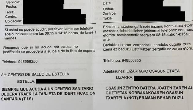 Ejemplo de una citación en pacientes con el dato de su ficha en bilingüe.
