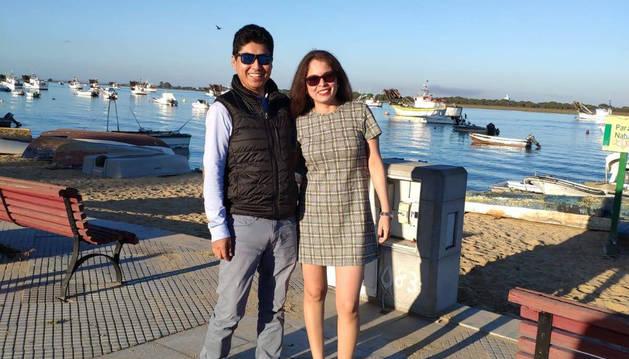 Foto de Yecenia Maricela Carvajal y Neel Vargas, durante un viaje a Malta el pasado agosto en el que él le pidió matrimonio.