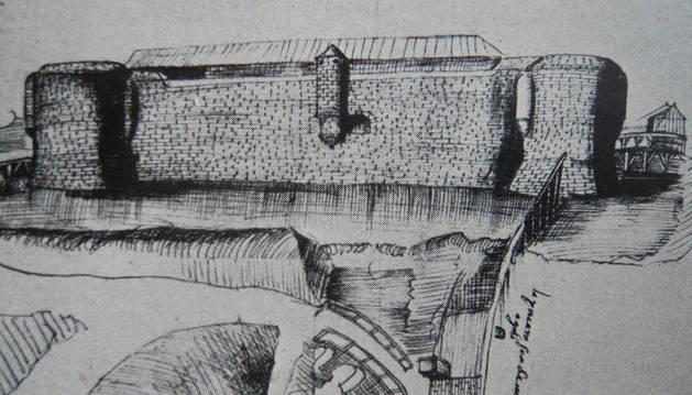 El castillo de Fernando el Católico, según un dibujo que en 1538 hizo el ingeniero Luis Pizarro.