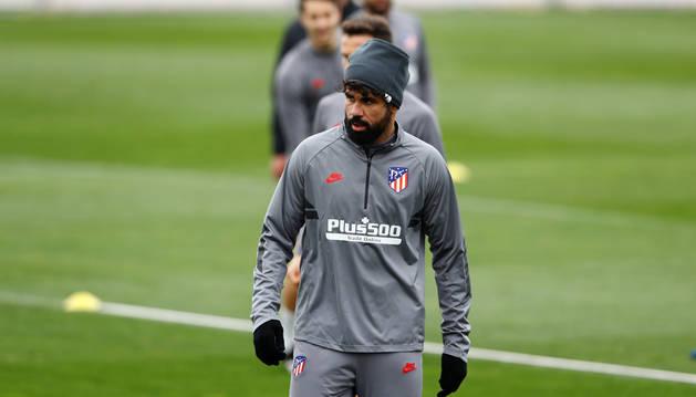 Diego Costa, en el entrenamiento del Atlético de Madrid.