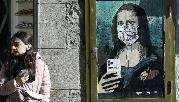 Foto del cuadro del artista callejero en Barcelona.