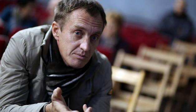 Denis Urubko, en una conferencia que ofreció en Santesteban.