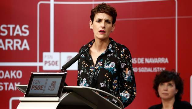 Foto de la secretaria general del PSN-PSOE, María Chivite, durante su intervención en la apertura del Comité Regional del partido.