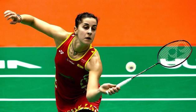 Foto de Carolina Marín durante el partido de semifinales del Barcelona Spain Masters.