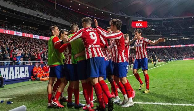 El Atlético de Madrid celebra uno de sus goles en el encuentro que les enfrentó al Villarreal.