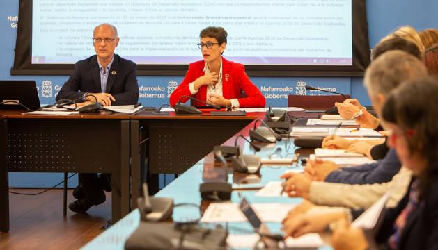 foto de María Chivite durante su intervención en la Comisión Interdepartamental para implantar la Agenda 2030