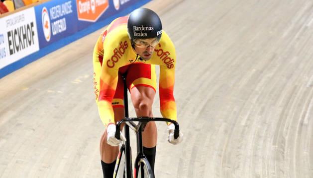foto de El velocista navarro Juan Peralta, en una competición anterior.