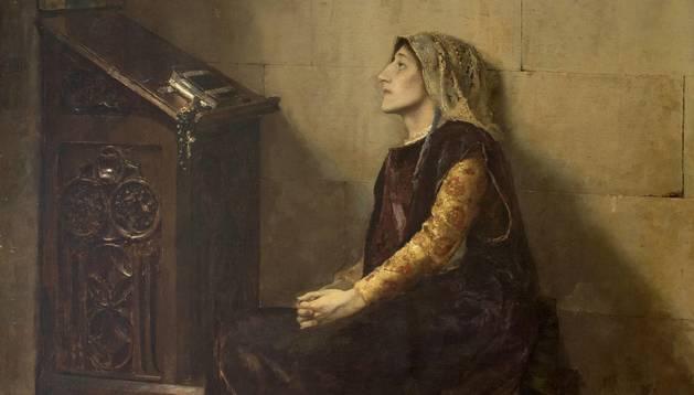 Doña Blanca de Navarra, un óleo de José Moreno Carbonero del Museo del Prado, aunque no está expuesto. Moreno Carbonero pintó un famoso cuadro del Príncipe de Viana.