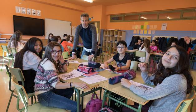 Alumnos del CP Santos Justo y Pastor de Fustiñana durante una clase.