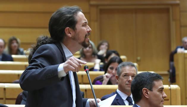 Foto del vicepresidente segundo del Gobierno, Pablo Iglesias, en el pleno del Senado celebrado este martes.