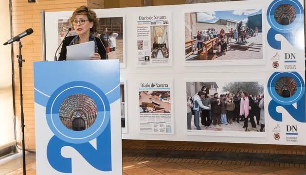foto de La directora de Diario de Navarra, Inés Artajo, durante su discurso en el acto de celebración del 20 aniversario de la Edición Ribera