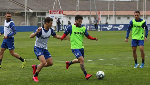 Foto de Rubén García, en el entrenamiento de este miércoles.