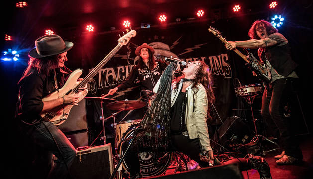 foto de Stacie Collins, en un concierto junto al trío de músicos que le acompaña