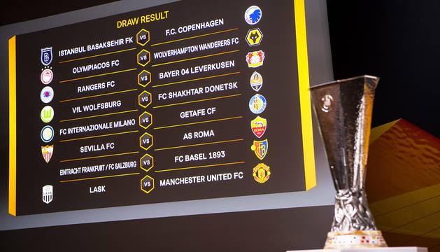 Emparejamientos de octavos de final de la Europa League tras el sorteo efectuado en Nyon.