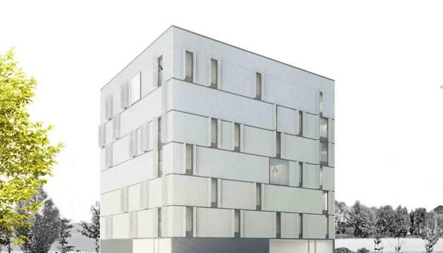 Imagen virtual de cómo será el nuevo edificio de viviendas de protección oficial de alquiler que se va a construir en Tudela.