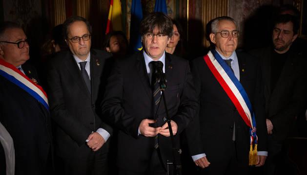 Torra, Puigdemont y el alcalde de Perpiñán.