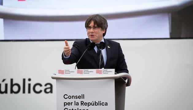 Puigdemont, en el acto en Perpignan.