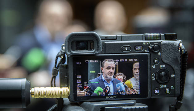 El presidente de UPN y portavoz parlamentario de Navarra Suma, Javier Esparza, este martes.