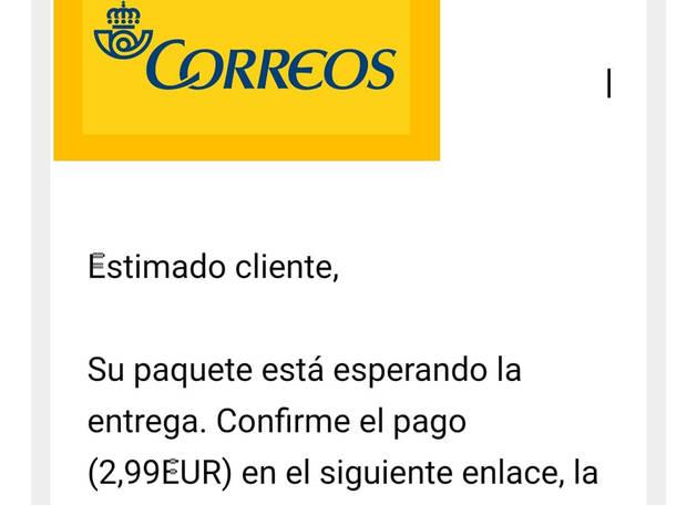 foto de Uno de los correos electrónicos con los que se estafa simulando un mail de Correos
