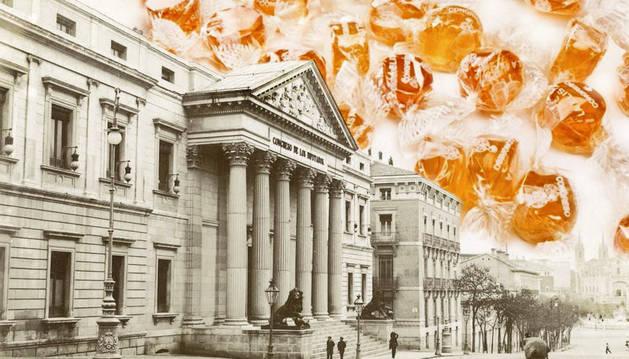 Fotomontaje del Congreso de los Diputados y unos caramelos. r. c.