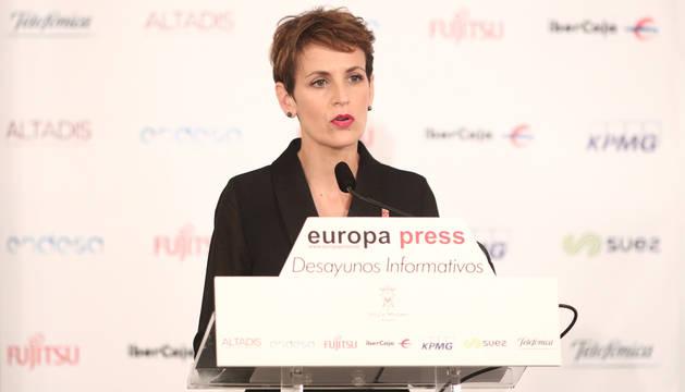 foto de La presidenta del Gobierno de Navarra, María Chivite, interviene en el desayuno Informativo de Europa Press en Madrid