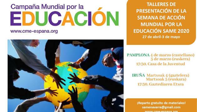 Cartel con la agenda de la SAME en la Casa de la Juventud de Pamplona.