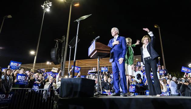 El exvicepresidente Joe Biden durante su discurso en el Baldwin Hills Recreational Center, en Los Ángeles. el 'superrmartes'.