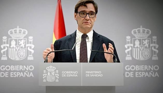El ministro de Sanidad Salvador Illa, durante la rueda de prensa tras la reunión de la comisión de seguimiento del coronavirus