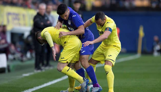 Un lance del encuentro entre Leganés y Villarreal.