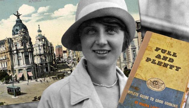 Postal de Madrid y recetario de Maura Laverty (Eating for Ireland) sobre retrato de los años 20. r. c.
