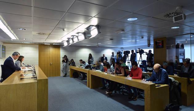 Comparecencia de prensa del Gobierno de La Rioja para dar a conocer las medidas ante la expansión del coronavirus.