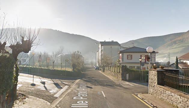Vista de la calle Patxi Arrazola de la localidad navarra de Leitza.