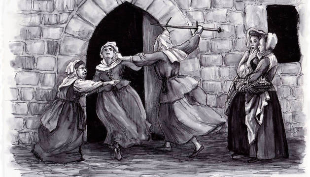 Ilustración sobre la disputa en 1536 en la calle Carnicerías de la vieja Pamplona entre María de Urriza y Leonor de Sarasa.
