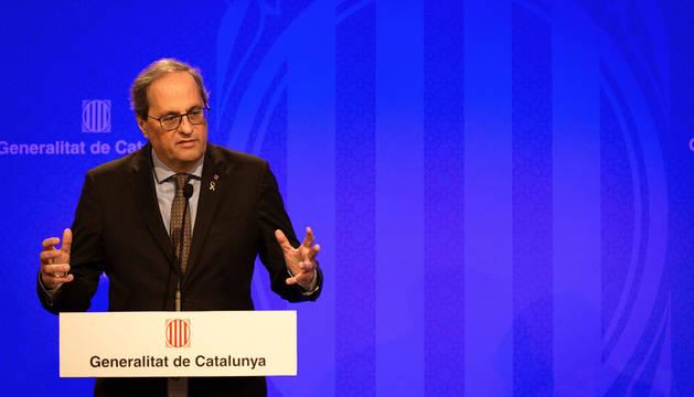 Foto del presidente de la Generalitat, Quim Torra, durante la rueda de prensa de este viernes.