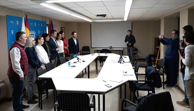 Imagen de la rueda de prensa ofrecida por el Ayuntamiento de Tudela.