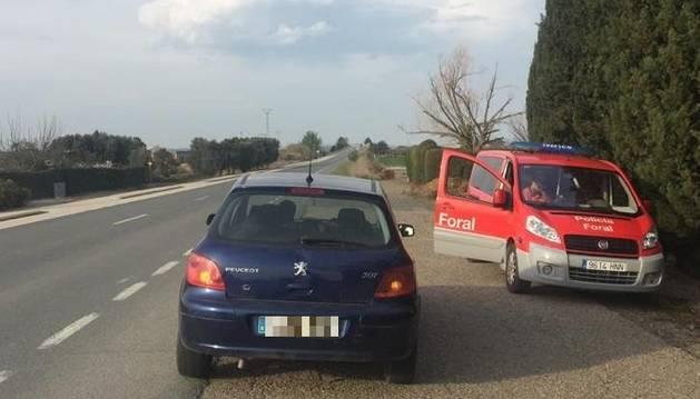 Foto de un vehículo que quedó inmovilizado tras ser denunciado por exceso de velocidad y triplicar la tasa de alcohol en Ablitas.