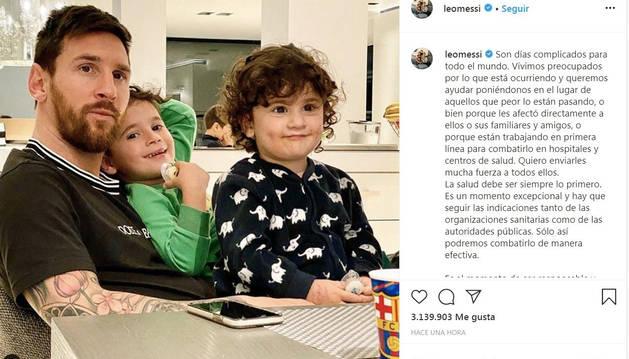 El mensaje de ánimo de Leo Messi a través de Instagram.