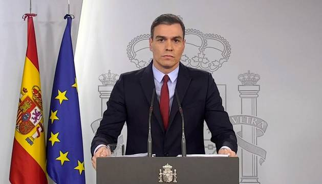 Captura de vídeo del presidente del Gobierno, Pedro Sánchez, en la comparecencia posterior al Consejo de Ministros extraordinario que ha tenido como fin la aprobación del decreto del estado de alarma.