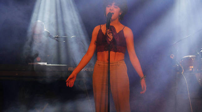 Anne Lukin, en su actuación el 6 de marzo en la sala Totem de Villava.