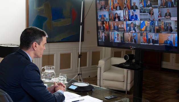 Videoconferencia de Pedro Sánchez con los presidentes autonómicos.