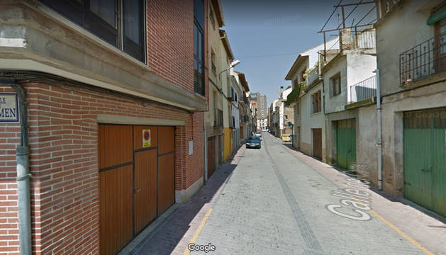 Imagen de la calle del Carmen de la localidad de Corella, donde se ha producido el derrumbe.