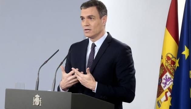 Foto del presidente del Gobierno, Pedro Sánchez, en la comparecencia posterior al Consejo de Ministros.
