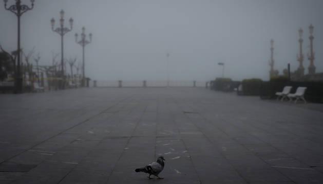 Foto de niebla en San Sebastián el 19 de marzo de 2020.