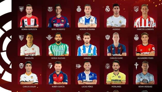 Los jugadores que representarán a los 20 equipos de Primera. El Mallorca, baja de última hora.