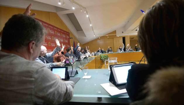 Imagen de una sesión plenaria anterior en el Ayuntamiento de Tafalla.
