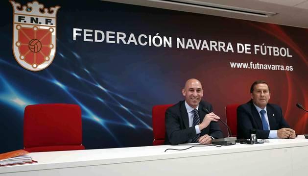 Del Amo y Rubiales, en noviembre de 2018 en la sede de la Federación Navarra.