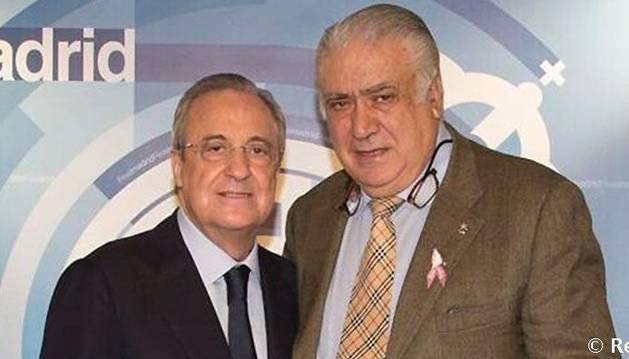 Foto del presidente del Real Madrid, Florentino Pérez, y el expresidente Lorenzo Sanz.