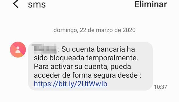 Mensaje de SMS en el que se trata de estafar a quien lo recibe.